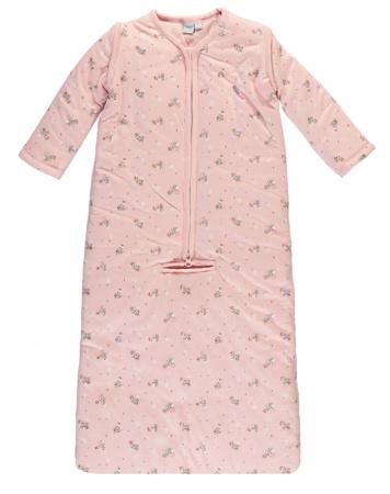 Babylook Slaapzak Winter Afritsbare Mouw Met Gordelopening Flower Silver Pink 90cm