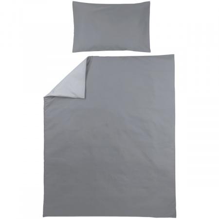Meyco Ledikantovertrek Uni Grijs/Lichtgrijs<br> 100 x 135 cm