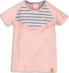 Jurk Korte Mouw Stripe Light Pink
