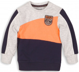 Trui Grey Melee Navy Orange