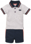2-Delige Set Polo Grey Melee Navy