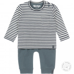2-Delige Set Stripe Dusty Green/Offwhite