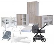 Complete Baby-Uitzet Kamer Rock + Kinderwagen On Tour + Matras Basicline + Badset Basicline + Q-sofa + Box Fleur