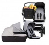 Mountain Buggy Duet Silver Incl. Tote Bag™, Family Pack, Reiswieg, Adapter Side By Side, Regenhoes Dubbel, 4x Zonnescherm