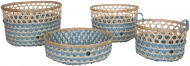 Handed By Bamboo Basket Set Stone Blue