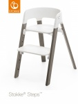 Stokke® Steps™ Chair Seat White Legs Beech Wood Hazy Grey