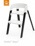 Stokke® Steps™ Chair Seat White Legs Oak Wood Black