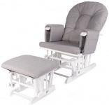 Childhome Gliding Chair Rond Inclusief Voetenbank Grijs + Wit Frame