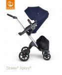 Stokke® Xplory® V6 Deep Blue Seat / Silver Chassis - Brown Leatherette Handle