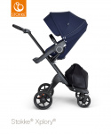 Stokke® Xplory® V6 Deep Blue Seat / Black Chassis - Black Leatherette Handle