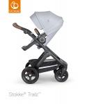 Stokke® Trailz™ Black Terrain Wheels Grey Melange with Brown Leatherette Handle
