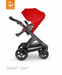 Stokke® Trailz™ Black Terrain Wheels Red with Black Leatherette Handle + Carrycot Red