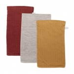 Little Dutch Washand 3Stuks Pure Indian Red/Grey/Ochre 21 x 14 cm