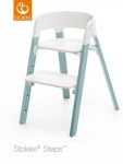 Stokke® Steps™ Chair Seat White Legs Beech Wood Aqua Blue
