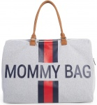 Childhome Mommy Bag Groot Grey Stripes Red/Blue