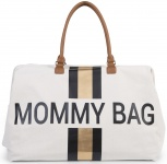 Childhome Mommy Bag Groot Offwhite Stripes Black/Gold
