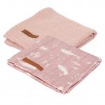 Little Dutch Swaddle 2 Stuks Ocean Pink / Pure Pink  70x70