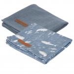 Little Dutch Multidoek 2 Stuks Ocean Blue / Pure Blue 70 x 70 cm