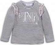 Dirkje T-Shirt Stripes Dark Grey Pink