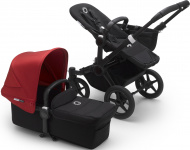 Bugaboo Donkey3 Mono Zwart Frame/ Style Set Black/ Uitklapbare Zonnekap Red