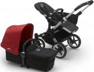 Bugaboo Donkey3 Mono Aluminium Frame/ Style Set Black/ Uitklapbare Zonnekap Red