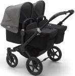Bugaboo Donkey3 Twin Zwart Frame/ Style Set Black/ Uitklapbare Zonnekappen Grey Melange