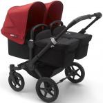 Bugaboo Donkey3 Twin Zwart Frame/ Style Set Black/ Uitklapbare Zonnekappen Red