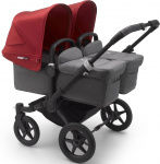 Bugaboo Donkey3 Twin Zwart Frame/ Style Set Grey Melange/ Uitklapbare Zonnekappen Red