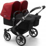 Bugaboo Donkey3 Twin Aluminium Frame/ Style Set Black/ Uitklapbare Zonnekappen Red