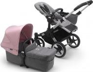 Bugaboo Donkey3 Mono Aluminium Frame/ Style Set Grey Melange/ Uitklapbare Zonnekap Soft Pink