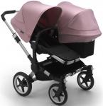 Bugaboo Donkey3 Duo Aluminium Frame/ Style Set Black/ Uitklapbare Zonnekappen Soft Pink