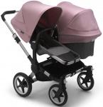 Bugaboo Donkey3 Duo Aluminium Frame/ Style Set Grey Melange/ Uitklapbare Zonnekappen Soft Pink