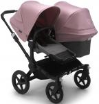 Bugaboo Donkey3 Duo Zwart Frame/ Style Set Grey Melange/ Uitklapbare Zonnekappen Soft Pink