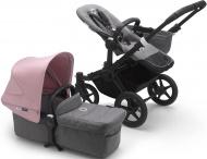 Bugaboo Donkey3 Mono Zwart Frame/ Style Set Grey Melange/ Uitklapbare Zonnekap Soft Pink