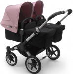 Bugaboo Donkey3 Twin Aluminium Frame/ Style Set Black/ Uitklapbare Zonnekappen Soft Pink
