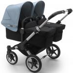 Bugaboo Donkey3 Twin Aluminium Frame/ Style Set Black/ Uitklapbare Zonnekappen Vapor Blue