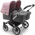 Bugaboo Donkey3 Twin Aluminium Frame/ Style Set Grey Melange/ Uitklapbare Zonnekappen Soft Pink