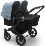Bugaboo Donkey3 Twin Zwart Frame/ Style Set Black/ Uitklapbare Zonnekappen Vapor Blue