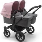 Bugaboo Donkey3 Twin Zwart Frame/ Style Set Grey Melange/ Uitklapbare Zonnekappen Soft Pink