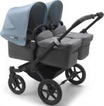 Bugaboo Donkey3 Twin Zwart Frame/ Style Set Grey Melange/ Uitklapbare Zonnekappen Vapor Blue