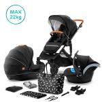 Kinderkraft Combi 3 in 1 PRIME Black Incl Autostoel/Mommy Bag