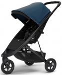 Thule Spring Stroller Black Inclusief Canopy Majolica Blue