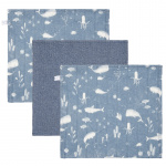 Little Dutch Monddoek Ocean Blue/Pure Blue/Ocean Blue 3-Pack