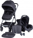 Puck Stroller 3 In 1 Max Zwart met Frame Antra Incl Autostoel/Adapter/Mamabag