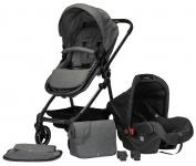 Puck Stroller 3 In 1 Max Staalblauw met Frame Antra Incl. Autostoel/Adapter/Mamabag