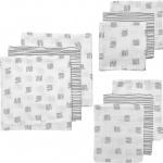 Meyco Starterset Luier - Monddoek - Washand Block Stripe Grijs 9-Pack