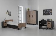 Bed 90 x 200 - Bureau - Nachtkastje - Hanglegkast 3 Deuren/2 Laden Lancaster