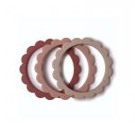 Mushie Bijt Armbanden Flower Blush/Rose/Shifting Sand (3 stuks)