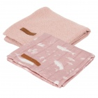 Little Dutch Swaddle 2 Stuks Ocean Pink / Pure Pink 70 x 70 cm