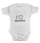 La Petite Couronne Romper I Love Mama White Silver